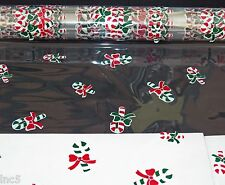 """4 Rolls 20"""" x 100' Candy Canes Christmas Designs Clear Cellophane Gift Wrap"""