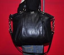 COACH Large Black Leather MADISON LINDSEY Convertible Shoulder Purse Bag 18641