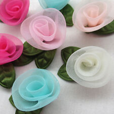 10/50PC Organza Ribbon Flowers Bows Rose W/ Green Leaf Appliques Craft Mix