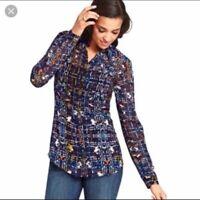 CAbi Colorful Sheer Art-to-Wear Button Up Shirt Tunic Top Blouse Womens Sz M
