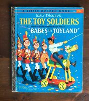 """Vintage Little Golden Book TOY SOLDIERS Babes in Toyland Disney 1st """"A"""""""
