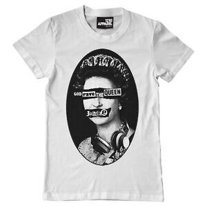 God Rave The Queen (s/m/l/xl/xxl) Anarchy DJ Sex Pistols Headphones white tee