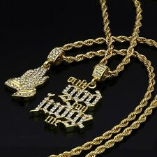 """14k Gold Plated Cz Only God Can Judge Me & Prayer Hip Hop Pendant 30"""" Rope Chain"""