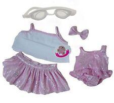 Bear Vestiti Rosa sparkle beach Set Bianco Nuotare Occhiali si adatta a costruire un ORSI TEDDY