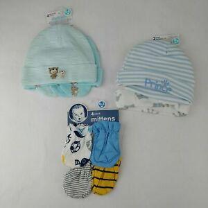 Gerber Baby Bear Hat & Mitten Set/Prince Hats/Sports Mittens Sz 0-6 Mo Blue Aqua