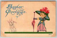 VNTG Postcard~ Easter Greetings~ Elegant Dressed Girl~ Nervous Rabbits~ c515