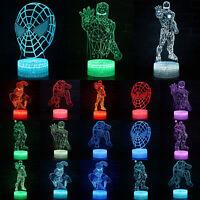 Superhero Spiderman Iron Man 3D LED Night Lights Colour Changing Touch Desk Lamp