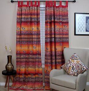 Unique Handmade Tab Top Curtain 100% Cotton Drape Panel Good Luck Elephant Print