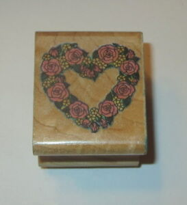 Rose Wreath Rubber Stamp Heart Shape Flowers All Night Media Rare Wood Mounted