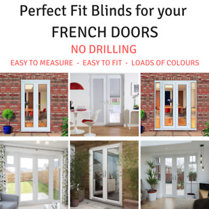 Pleated Perfect Fit Blinds custom made for your size FRENCH DOORS & UPVC Windows