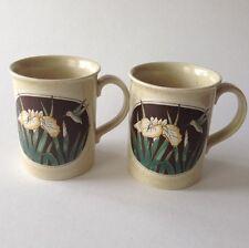 Otagiri Japan Hummingbird Coffee Mug Iris Flower Set of 2 Stoneware Pair Vintage