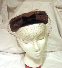 Vintage Chanda Ladies Pillbox Hat With Veil Brown Velvet Trim