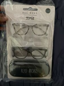 RAE DUNN 3 Pair Quality Square Reading Glasses w/ Case +1.50 Read More Gift Set