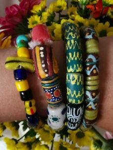 Joblot of 4 African Trade Bead Bracelets Colourful Glass Beads Interesting