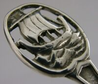 SOLID STERLING SILVER CADDY SPOON ARTS & CRAFTS 1920 VIKING BOAT SCOTTISH STYLE