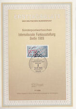 TIMBRE FDC ALLEMAGNE  BERLIN OBL ERSTTAGSBLATT EXPO RADIO TELEVISION 1989