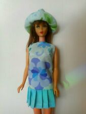 OOAK Barbie Floral blue pleated miniskirt dress and hat set groovy retro blue