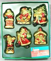 JOYBRITE Assortment No.1 Christmas 6 VINTAGE Santa Ornaments Gold/Red/Green