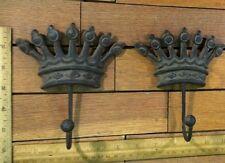Set of 2 Crown Coat Hat Wall Hooks 6-1/4 cast iron Antique Vintage style Hanger