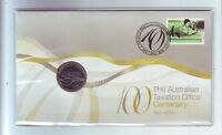 2010 Australian Taxation Office (ATO) Centenary 20 Cent Coin Stamp Set PNC FDC