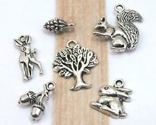 6 Woodland Charms Antique Silver Mixed Charm Collection Lot Set Forest Animals