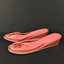 Womens Vintage Vanity Fair Coral Rose PINK Mules Slippers Heel Small 5-6 USA NEW