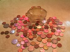 Vintage Piggy Bank Glass Anchor Hocking & 1# WORLD COIN China japan Russia LOT