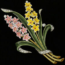 Trifari 'Alfred Philippe' Small Pink and Yellow Double Hyacinth Pin Clip