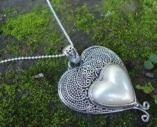 New Item-925 Sterling Silver Balinese Necklaces Heart With White Pearl