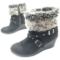 Lilley Women's Ladies Girls Wedge Ankle Boot Black Suede Fur Collar Buckles UK 5
