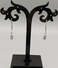 Beautiful 9ct Carat White Gold Briolette Amethyst Drop Earrings, New /Unworn.