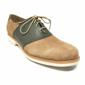 Men's NEW Cole Haan Grand Os Saddle Oxfords Shoes Size 11.5 Green Brown Leather