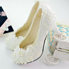 Handmade Women Bridal Wedding Shoe High Heel Beads Pearl White Lace Flower