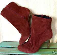 NEW Free People rusty red suede Slouchy Heel Fairfax Ankle Boots 37/6-6.5