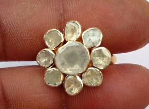 Natural Polki Diamond Ring Solid 925 Sterling Silver Handmade Beautiful RIng