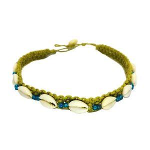 Hawaiian Jewelry Hemp Shell & Double Blue Bead Hawaii Choker