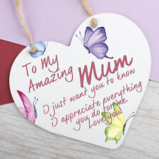 I Love You Mum Gifts Hanging Sign For Birthday Mothers Day Plaque Metal Heart
