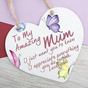 I Love You Mum Gifts Hanging Sign For Birthday Mothers Day Plaque Heart