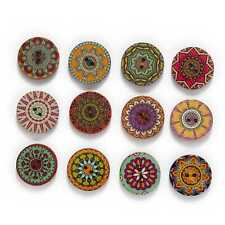 50pcs Painted Round Wood Buttons for Handwork Sewing Scrapbook Clothing Crafts