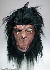 Monkey Mask Br & Blk Latex Jungle Animal Full Head Chimp Mask W/ Synthetic Hair