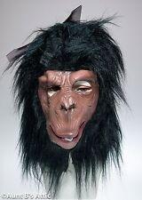 Monkey Mask Br & Blk Latex Jungle Animal Full Head Chimp Mask W/ Synthetic Hair