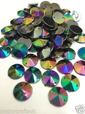 100pcs NERO AB 10mm Flat Back sottolineato Sew-on Acrilico RIVOLI STRASS C6