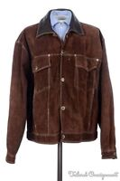 KARL KANI Brown Heavy Suede Leather Snap Front Mens Bomber Jacket Coat - XL