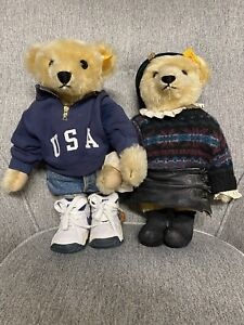Steiff Ralph Lauren Polo Growler Bear and Romantic Girl 1993 and 1995