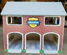 Vintage Learning Lakeshore Fire Station #105 Large Wood Toy Play House