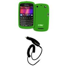 for BlackBerry Curve 9360 Green Silicone Case Cover+Smart Chip Charger