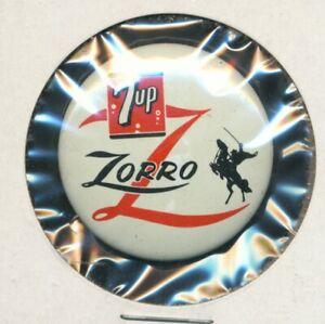 DISNEYANA-Pin Back Button-ZRO-2-ZORRO -7up promo -limited- 1957