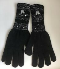 Disney Mickey Mouse Black / Silver Knit Gloves ~ NWT