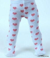"""**SALE** PINK HEARTS on WHITE Doll TIGHTS fits 15"""" & 18"""" AMERICAN GIRL DOLL G/Z"""