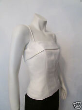 TAHARI white spaghetti straps evening formal blouse top shirt cami sz 8